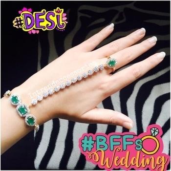 Stunning Bracelet Handharness/Hathphool with Emerald Stones  To Order what's +919167976857  #bracelet #bracelets #handharness #haathphool #armcandy #diamondbracelet #emeraldring #ring #rings #braceletwithring #jewellery #jewelry #designerjewelry #jewelery #jewels #jewelryaddict #jewelleryoftheday #jewelrygram #jewelryoftheday #diamondjewelry #diamondjewellery #allthingsbridal #bridaljewelry #bridaljewellery #asianwedding  #bride #brides #bridetobe #fashion #accessories #desi #BFFsWedding #bridal