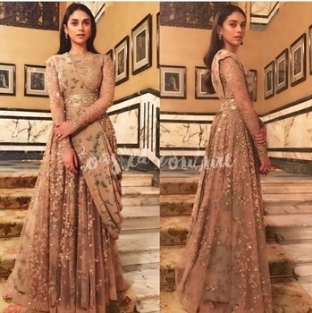Love is in the air 💕💞 Can you feel it? #aditiraohydari  channelling princess vibes in a romantic #sabyasachimukherjee  creation... For more on her dreamy look head over to #ToastOrRoast from the link on 🔝#Toastedcouture #couturecollection #firdaus #celebrityfashion #bollywoodfashion #dreamcouture #anarkali #goldsequin #ethereal #bollywoodfashion #romantic #indianbeauty #indianfashion #indiandesigner