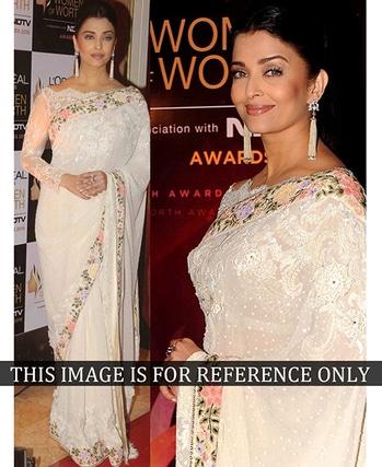 Aishwarya Rai Off White Embroidery Work Saree  #aishwaryaraibachchan #bollywood