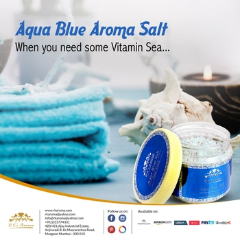 Our Aqua Blue Aroma Salt contains marine salt, natural essential oils and all the goodness of the sea, to exfoliate your skin and soothe your senses. You'll come out a whole new person!   Shop now: http://bit.ly/RksAroma_AquaBlueAromaSalt  #RksAroma #BeautyCare #Health #AromaTherapy #Natural #Fragrances #AromaticOils #Skincare #Beauty #Pure #BeautifulSkin #Aroma #HealthySkin #SelfLove #GlowGreen #Organic #Detox #Destress #EssentialTherapy #PureSkin #Exfoliation #MarineSalt
