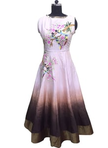 """""""New Cream & Brown Pure Bhagalpuri Hand Work Long Party Wear Gown @ Rs.3800/- only ShopNow:https://goo.gl/PsF3Xe1 Order On Whatsapp no +91-7285880242 Mail Us On :- info@khantil.in Product code:-17673"""""""