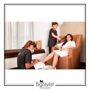Get pampered with beauty, hair and spa services at the comfort of your home with #BigStylist! #salonathome #beauty #hair #spa #spaathome #pamper #relax #rejuvenate #stayhomebeautiful