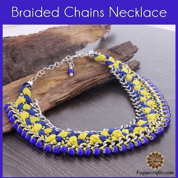 Shapely yellow and blue braided chain necklace to enlighten your boring days!! For MOQ and Price visit on  : www.voguecrafts.com #fashion #jewelry #necklaces #bead #designs #indianJewelry #jewels #vogue #jewelrymaker #voguecrafts #roposolove #roposodaily #roposonails #love #ootd