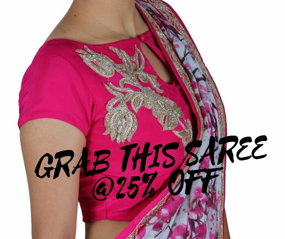 Printed pure georgette saree with a beautiful handwork blouse. Grab it today. Message us for more details.  #Sale #SareeLove #Mumbai #WearAVCouture #Delhi #Trendy #Fashion #Designers #Wedding