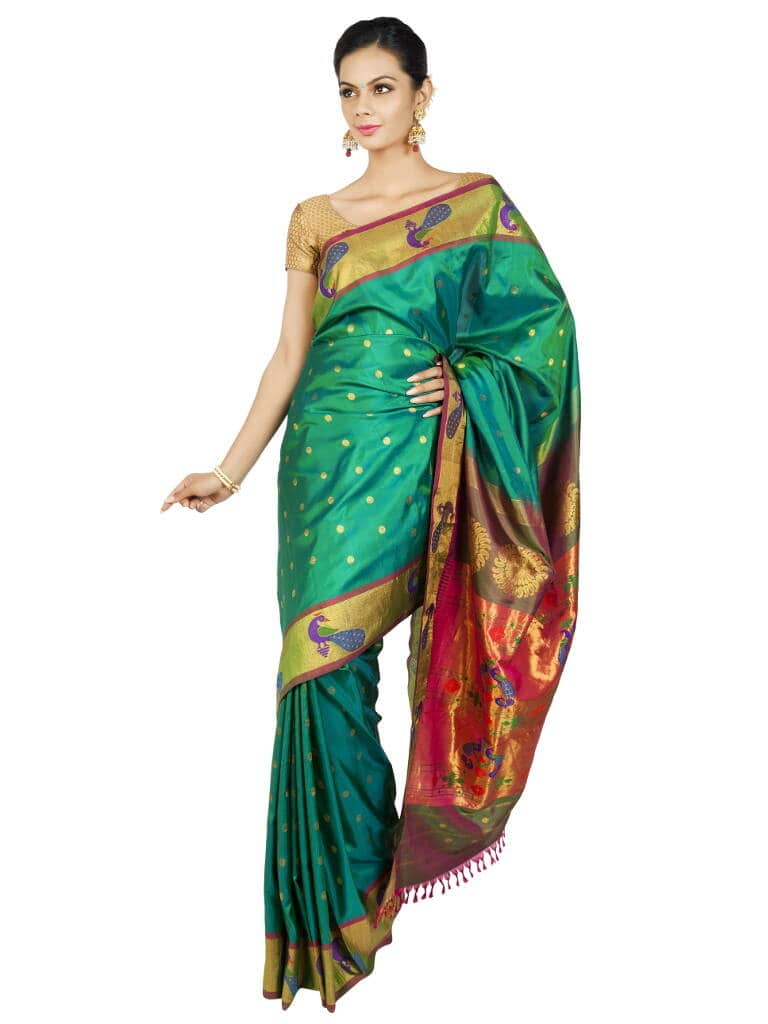 Turquoise Paithani with Peacock Borders. Price : ₹23,700.00 or $395.00 To buy now visit OnlyPaithani.com.