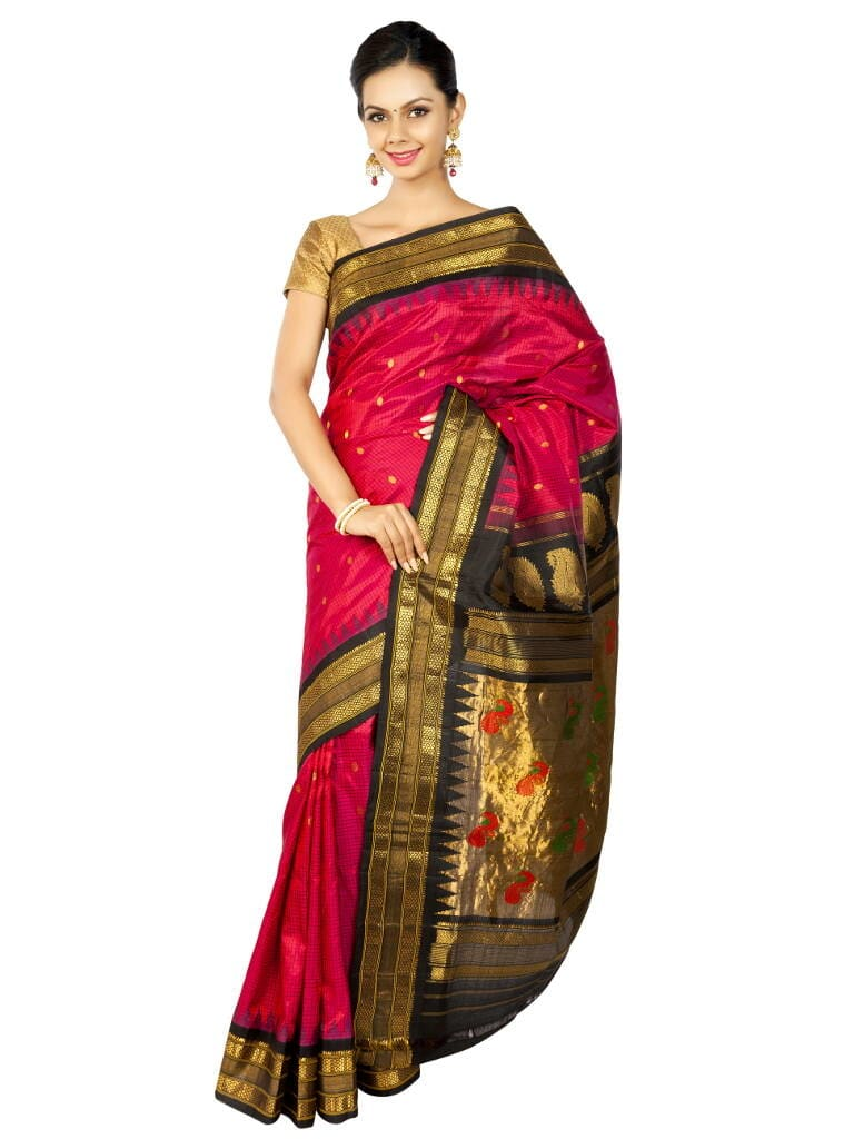 Fuchsia Checks Gadwal Saree. Price : ₹15,900.00 or 265 To shop now visit : OnlyPaithani.com. #weddding #roposo #ethnic #traditionalwear