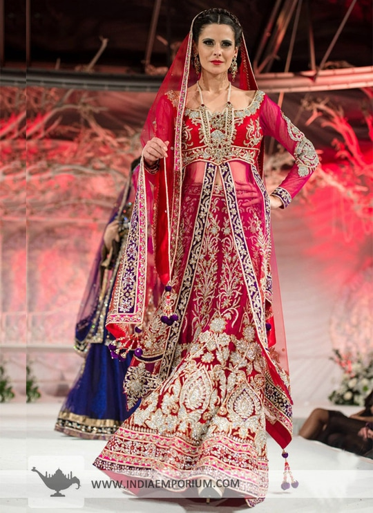 Glorious Red & Pink Bridal Stylish Long #JacketLehenga Choli with attractive Sleeve Length >>https://goo.gl/IcvuuF