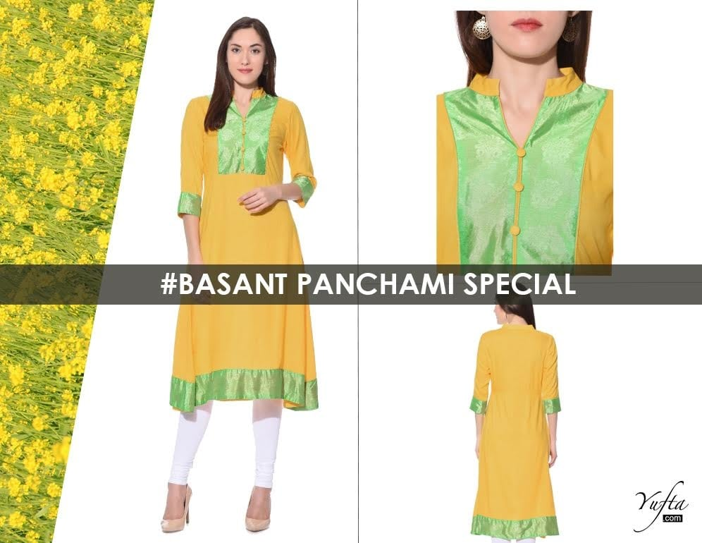 This #BasantPanchami radiate your inner beauty with our exclusive collection of cheerful #Yellow ensembles.  To shop, click> http://bit.ly/2kJjJHb