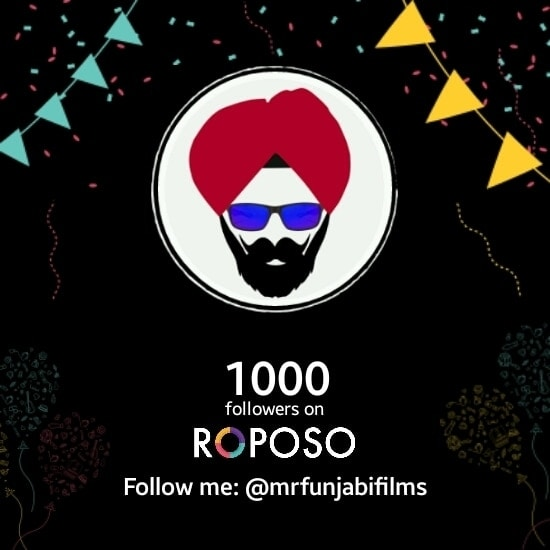 Thankyou everyone. Mr. Funjabi Films crossed 1000+ Followers on #RoPoSo  Also join us on -  Facebook: https://www.facebook.com/MrFunjabiFilms Google+: https://plus.google.com/u/0/114690475714879637877 Instagram: https://www.instagram.com/MrFunjabiFilms Twitter: https://twitter.com/MrFunjabiFilms   #roposostory #followforfollow #throwback #myfirstpost #travel #model #soroposo #menonroposo #bloggerawards #ropo-good #newpinch #voteforme #swag #zodiacsigns #indianblogger #selfie #vote #aselfieaday #streetstyle #saree #selfieoftheday #nomakeup #casualvibe #makeup #ropo-love #love #designer #beauty #dress #followme