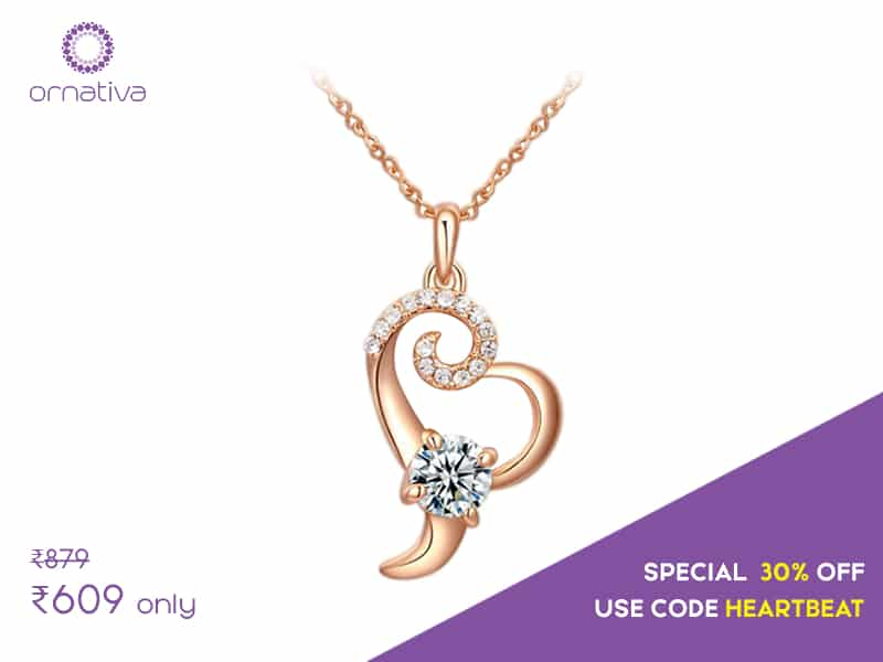 "Here's jaw-dropping offer on one of our all time best seller, ""The Heart Beat"". It's the month of love and affection and nothing compliments the occasion more than the stunning ""Heart Beat"".  Browse it here -> http://www.ornativa.com/pendants/the-heart-beat"