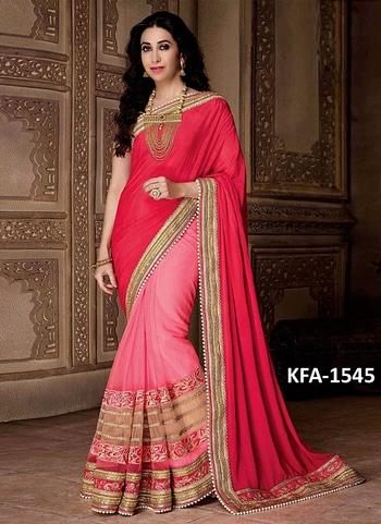 Karishma Kapoor Chiffon Silk Georgette With Nylon Net Red & Pink Replica Saree @1749/*  For inquiry +91-8238424320  For more https://goo.gl/2TpzQe  #soroposo #mobileaccessories #weddingseason   #weddingselfie  #smile  #blackandgold  #blackandgreen #indowesternlook  #sherwanistyle
