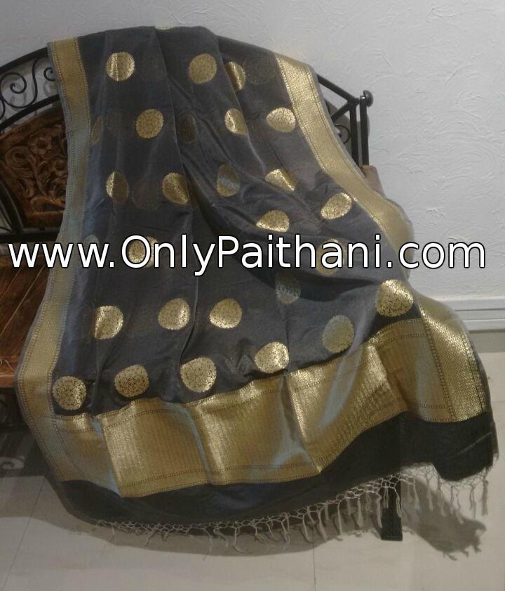 Grey banarasi dupatta. Price : ₹3,900.00 or $65.00 Click to shop online OnlyPaithani.com.