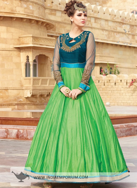 Latest Green & Blue Embroidered #gowndress