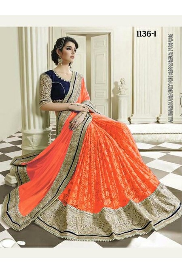Wedding Wear Orange Half & Half Saree - 1136-I @ Rs.1940/- Only  Buy Now : https://goo.gl/n7t9AV  Order On Whatsapp : 09321219977  Flat 10% OFF on First Order ( Use Coupon - IAMNEW10 ) Get Free Home Delivery + COD + Easy EMI + Easy Refund / Replacement Policy.!!  *100 % Customer Satisfaction * Stitching Service Available * Hurry Up To Grab Exciting Offer On storeadda !!!! * World Wide Shipping   #saree #designersaree #women-fashion #bollywoodfashion #sale #storeadda #partywear #fashionblogger #bloggerstyle #ethnicwear #bolg #half&halfsaree #designersaree #orange #sareesstyle