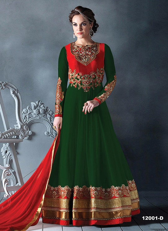 """New Red And Green Georgette With Embroidery Semi-Stitched Long Anarkali Suit @ Rs.1625!..... Order Now :-https://goo.gl/JJqAIk Order On Whatsapp no +91-7285880242 Mail Us On :- info@khantil.in Product Code :- 17782"" #green #salwarkameez #online #khantil"