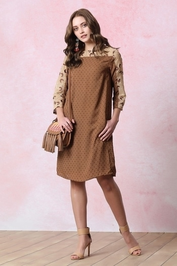 A dress that speaks Earthy in all its glory! Style it with an Ikat sling bag and nude heels to ace your summer look... http://bit.ly/2ludtQq  #vajor #womensfashion #dress #browndress #embroidereddress #newcollection #earthyquirk