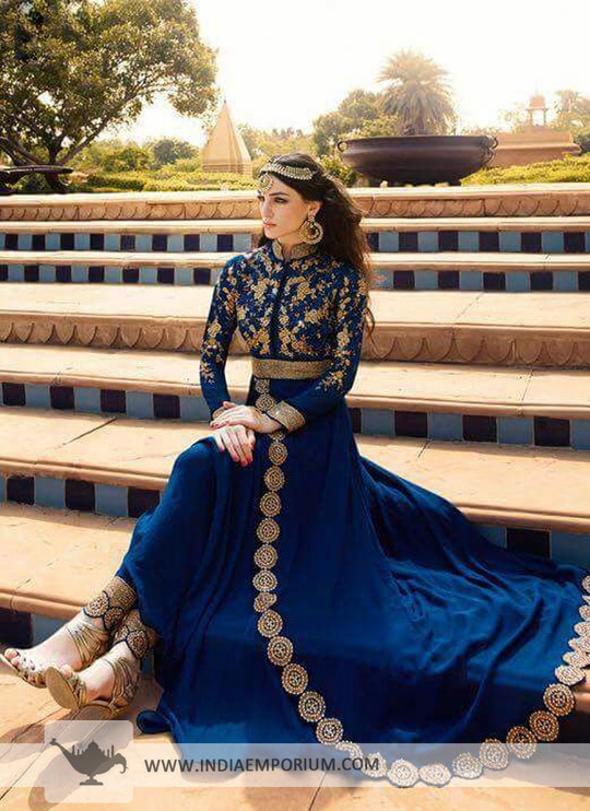 Sizzling Look!!!  #embroidered Blue #georgette based #achkanstylesuit @indiaemporium