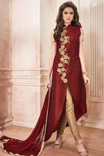 View Here: http://www.kalaniketan.com/salwar-kameez/delightful-maroon-color-embroidered-party-wear-banarasi-silk-salwar-kameez.html #chudidar #partywearonline #salwarsuit #womensclothing #traditionalwear