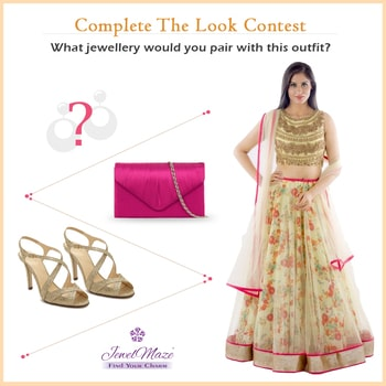 Complete the look contest alert  How to win:  1. Visit our website http://www.jewelmaze.com/ 2. Select the jewellery which suits with this outfit. 3. Upload the jewellery image in comment box below. We will declare 3 lucky winners on 25/2/2017, Saturday. #completethelook #jewellery #contest #alert #jewelmaze