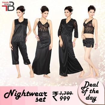 DEAL OF THE DAY: Nightwear set for just 999/- Hurry, offer won't last for long. Shop now-https://goo.gl/rTwucB #nightwear #innerwear #black #dealoftheday