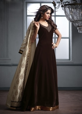 #BROWN ABAYA STYLE ISLAMIC VELVET #ANARKALI SUIT WITH LONG SILK #JACKET https://www.gravity-fashion.com/brown-abaya-style-islamic-velvet-anarkali-suit-with-long-silk-jacket-b17086.html