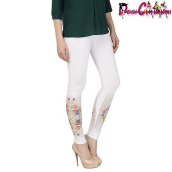 TREND MAKER LEGGING !!  Offering a regular fit, it can be teamed up with a top or kurti and wedges for that perfect evening look.  Shop here http://desichhokri.com/legging/337-desi-chhokri-white-embellished-cotton-leggings.html