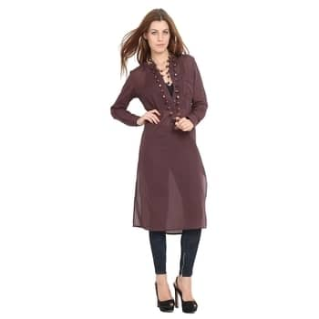 Shop now...http://www.amazon.in/dp/B01MRGV3J1  Hope and Luck Brown Full Sleeves Shirt Collar Solid Long Sleeve Maxi Patch Pocket Dress