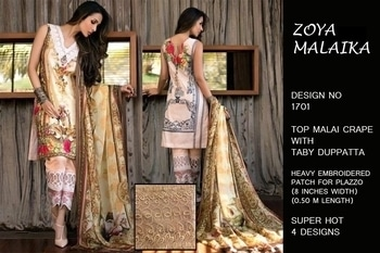 Zoya malaika Top Malai crape Duppata tabby silk With complimentary plazzo BOTTOM patch  Of heavy embroidered  (8 inches width 0.50 m length) For more details pls call or watsapp 9892735368 Pls do visit n like our page For more images pls click https://www.facebook.com/Paisleys123/