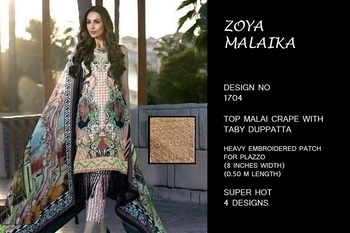 For more info. call or whatsapp : +91 9978610114  Product Id: 5100 Price Per Piece: 995 Catalog Pieces: 4 Full Catalog Price: 3980 TOP:	Malai crape BOTTOM:	complimentary plazzo DUPATTA:	tabby silk WORK:	heavy embroidered (8 inches width 0.50 m length)