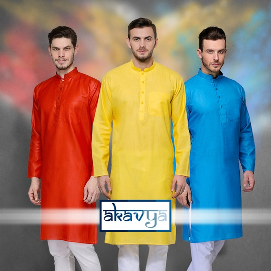 Akavya Presents #Cotton #Plain #Casual #Colorful #Kurta Set for This #Holi https://www.sareez.com/akavya.html