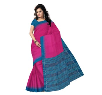 Deep Rani colour with Sea Green Hand-woven Eri Silk Saree for festival wear. Online #shop from Odisha Saree Store : http://bit.ly/2l7fjWn.