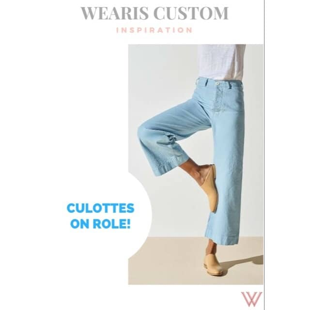 Get high on culottes this season! You desire, we make! ORDER NOW!!! #WearIsCustom #denim #culottes #trending #customised #fit #fashion #trendalert #lovecustom #clothing #stylistpicks #instapost #fashionblogger #wearthis #looktrendy #anycolour #chic #highstreet #fashionable #potd #ootd #wearis