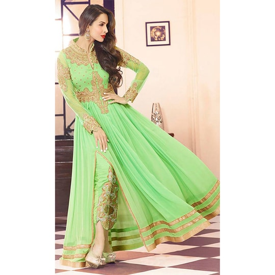 #PartyWear #Long #AnarkaliSuit • Fabric : Georgette & Net • Dupatta Fabric : Net • Salwar & Inner Fabric : Shantoon and more on this #HoliSpecial #FreeShipping in #India   http://www.ishimaya.com/offers/super-saver-sale/green-anarkali-palazzo-suit.html?utm_source=roposo&utm_medium=refferal&utm_campaign=smo