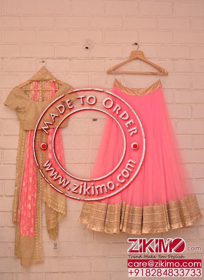 Clad in Latest Gorgeous #Silk #Net #Lehengas, Look statuesque.  Shop @ https://goo.gl/pfyPJk