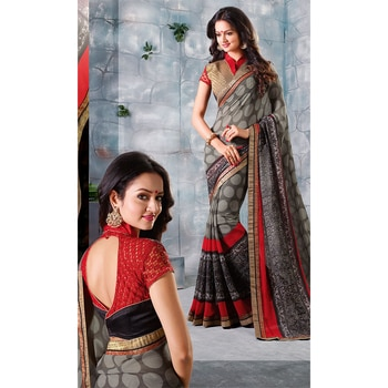 #Party and #FestiveWear #Georgette #Embroidered #Saree • Saree Fabric : Georgette • Blouse Fabric : Art Silk #HoliSpecial #PohelaBoishakh #FreeShipping in #India & #Bangladesh  http://www.ishimaya.com/sarees/all-collections/heavy-art-silk-blouse-georgette-sarees/grey-and-black-heavy-blouse-georgette-saree.html?utm_source=roposo&utm_medium=refferal&utm_campaign=smo