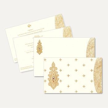 Wedding Invitations Islamic (Muslim) Wedding Cards IS1967  High quality vellum paper bordered with golden floral print and a beautiful paisley motif treated with delicate kundan work is a delightful card. See more at http://bit.ly/2lfN47R