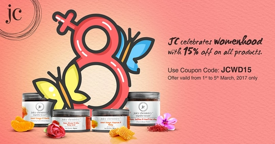 Juicy Chemistry celebrates womanhood with FLAT 15% OFF on all products. Offer valid from 1st to 5th March, 2017 only. #Hurry www.juicychemistry.com