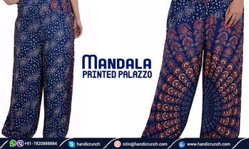 Multi designs in the mandala printed palazzo. Palazzos made from cotton fabric easy to wash and wear with T-shirt and tops.  #mandala #printedpalazzo #palazzo #cotton #fabric #t-shirt #tops  View product details: https://www.handicrunch.com/en/women/palazzo-pant.html