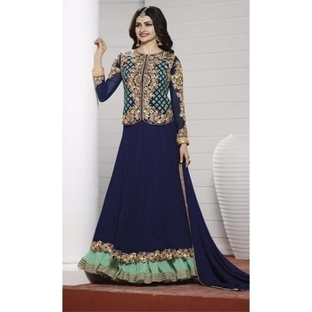 Change your look and style with attractive #PartyWear #SalwarKameez #Wedding #HoliSpecial #FreeShipping in #India  http://www.ishimaya.com/salwar-kameez/type/ethnic-suits/georgette-party-embroidered-jacketstyle.html?utm_source=roposo&utm_medium=refferal&utm_campaign=smo