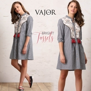The two biggest trends of the season are embroidery and tassels. And these two dresses have them both! Which is your favourite... http://bit.ly/2nuIjJR #vajor #womensfashion #dress #greydress #pinkdress #embroidereddress #checkdress #earthyquirk