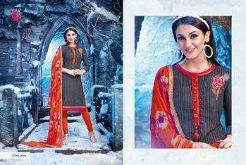 Trendy Grey & Orange Churidar Suit With Matching Designer Dupatta!  #khwaish #khushika #salwarkameez #embroiderywork #designerdupatta #stylishwear #churidarsuit #aditiarya
