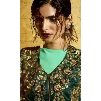#FloorLength #Designer #JacketStyleSuit • Embroidery and Stone work • Fabric : Georgette • Dupatta Fabric : Chiffon • Bottom Fabric : Shantoon #Wedding #Festivecollection #FreeShipping in #India  http://www.ishimaya.com/salwar-kameez/type/ethnic-suits/green-traditional-5days-cyan_1.html?utm_source=roposo&utm_medium=refferal&utm_campaign=smo