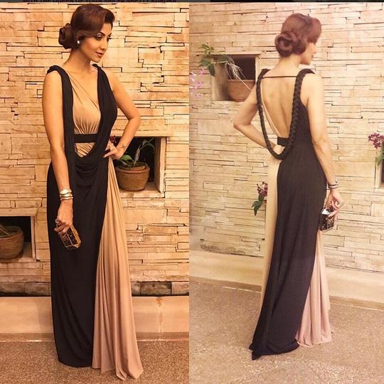 Shilpa Shetty In A Black Brown Gown