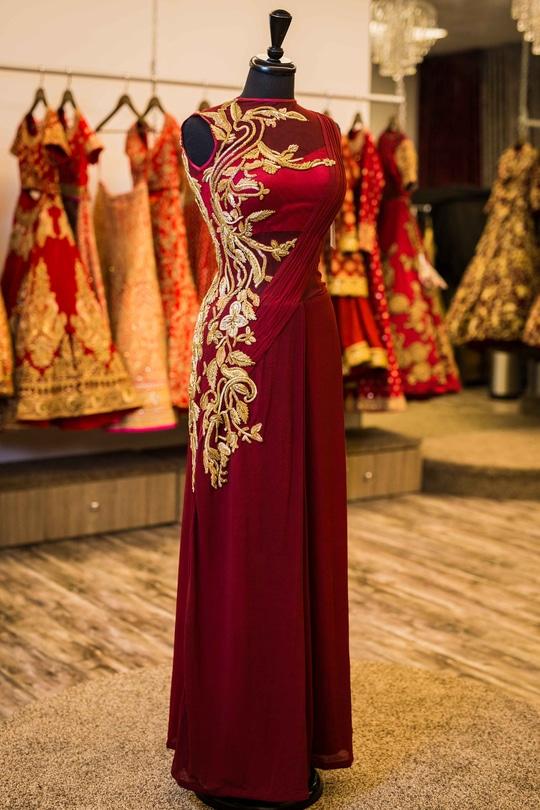 Maroon Georgette Sari Gown