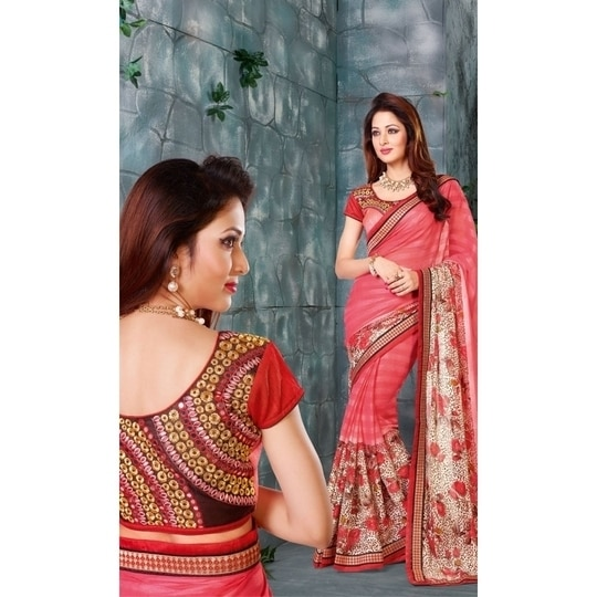 #Partyand #FestiveWear #Georgette #Embroidered #Saree • Saree Fabric : Georgette • Blouse Fabric : Art Silk #Festivecollection #FreeShipping in #India & #Bangladesh  http://www.ishimaya.com/sarees/all-collections/heavy-art-silk-blouse-georgette-sarees/pink-heavy-blouse-georgette-saree-12044.html?utm_source=roposo&utm_medium=refferal&utm_campaign=smo