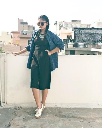Just a little bit of sass 🙌🏻 Outfit of the dayy ♥️ Jumpsuit- Incense, Rajouri Shirt- Dad's closet @zara  Shoes- @vans Neckpiece- @dresslink  Shades- @forever21 • • • #indianfashionblogger #OOTD #indianfashionbloggercommunity #fblogger #fblog #fblogging #blogging #blogger #bloggerlife #Roposo #Soroposo #Roposotalk #Roposolove #teenfashionblogger #teenfashion #popxo #popxodaily #womenwithstyle #ethnics #blogpost #bloggerfashion #ethnicwear #fusion #likeforlike #followme #likeforfollow #like4like #tagsforlikes