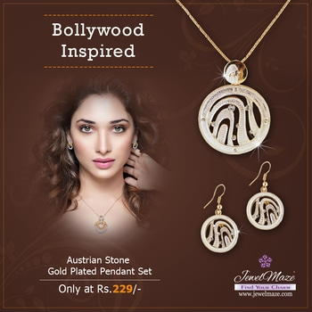 Bollywood Inspired Jewellery Austrian Stone Gold Plated Pendant Set Only @ Rs.229/- Shop Now :http://bit.ly/2lRamSt #buyonline #jewellery #bollywood #inspired