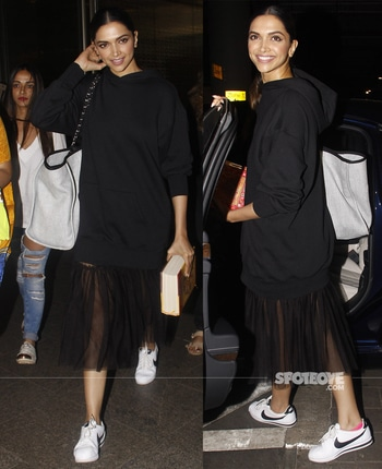 Deepika Padukone arrives back from Delhi  http://www.spotboye.com . . #deepikapadukone #deepikapadukonestyle #spotboye #airportstyle #airportlook #travel #bollywood #bollywoodfashion #fashiondiaries #trendy #black #summer-style #trendalert #fashiondiaries #womensfashion