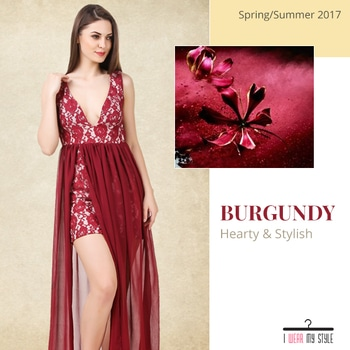 Look #gorgeous when you wear this #burgundy colored #dress. This #flared #slit, #lace #maxi dress is everything in #trend right now! Team this #sexy dress with nude sandals and a clutch. #dresses #cocktaildress #partywear #shopping #onlineshopping #onlinefashion #clothes #beautiful #exclusive #pretty #instadaily #hurry #instapost #like4like #iwearmystyle #instafashion #stylegoals #newarrivals #newarrivalsalert #springfashion