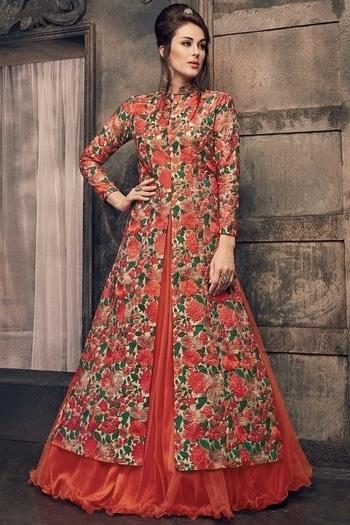 Orange floral jacket lehenga from Samyakk!  www.samyakk.com  #roposolove #ootd #saree #lehenga #sherwani #kurti #trendalert #trend2017 #latestfashion #samyakk #indianfashion #ethnicwear #salwar #indianfashion #trendalert #fashionista #fashionblogger #indianfashionblogger  #runwayfashion #celebrityfashion #style #outfitidea #bangalore #fashionista #fashionblogger #indianfashionblogger #runwayfashion #celebrityfashion #NewCollection #LakmeFashionWeek  #Fashion #WomensFashion #WomensWear #IndianBride #IndianWeddings #Designer